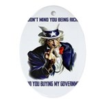 Uncle Sam Flipping The Bird Ornament (Oval)