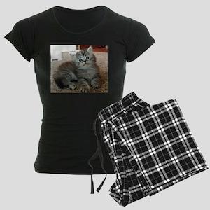 Cute Silver Siberian kitten Women's Dark Pajamas