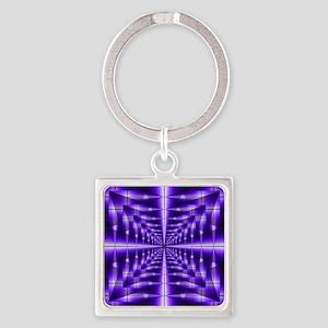 Trippy Purple Plaid Keychains