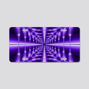 Trippy Purple Plaid Aluminum License Plate