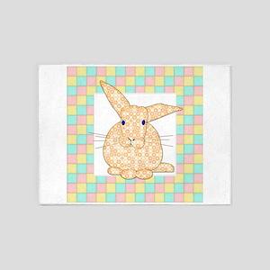 Yellow Bunny Pink Gree n Yellow Che 5'x7'Area Rug