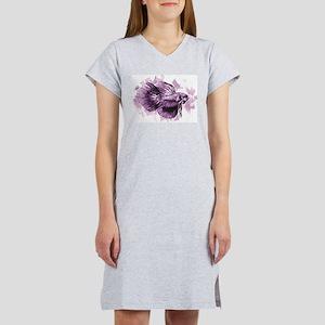 Purple Betta Fish Women's Nightshirt
