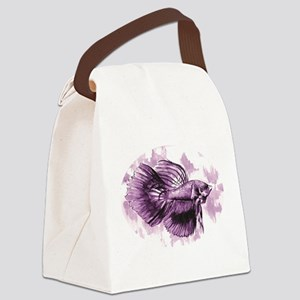 Purple Betta Fish Canvas Lunch Bag