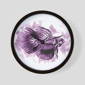 Purple Betta Fish Wall Clock