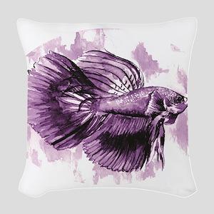 Purple Betta Fish Woven Throw Pillow