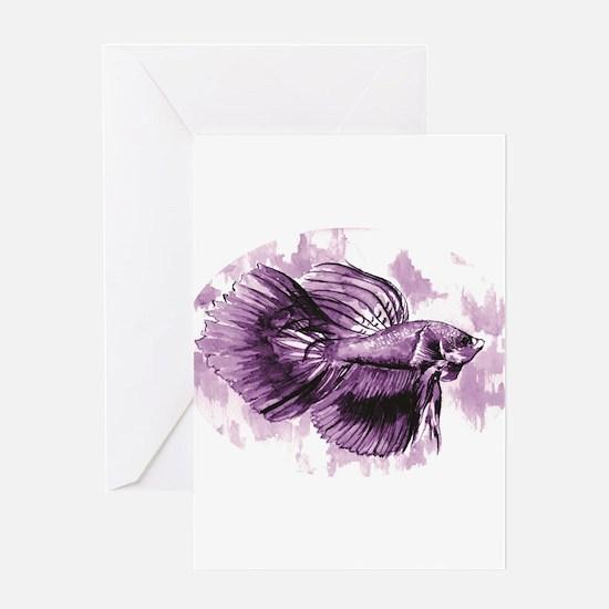 Purple Betta Fish Greeting Cards