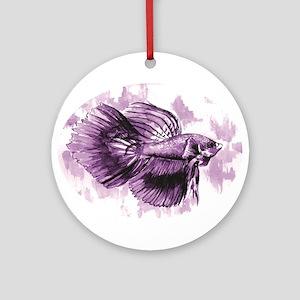 Purple Betta Fish Ornament (Round)