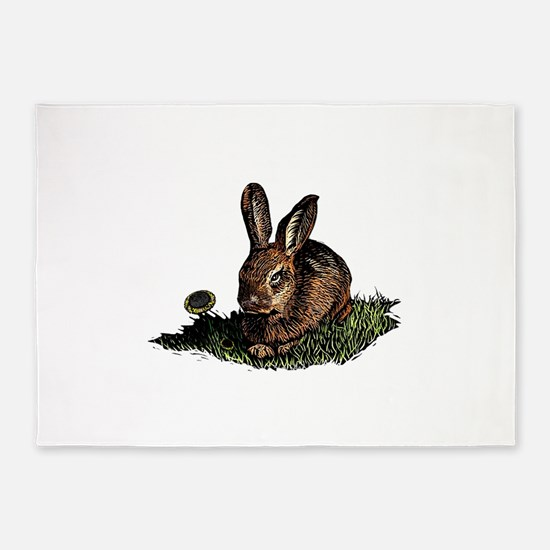 Rabbit in the Grass etching 5'x7'Area Rug
