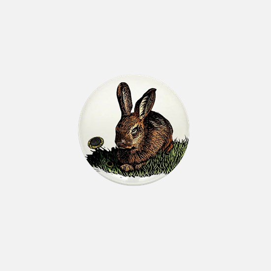 Rabbit in the Grass etching Mini Button