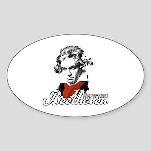 Beethoven piano virtuoso Sticker (Oval)
