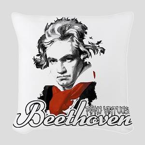 Beethoven piano virtuoso Woven Throw Pillow