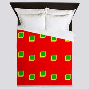 Red Green Colours Christmas Beveled Sq Queen Duvet