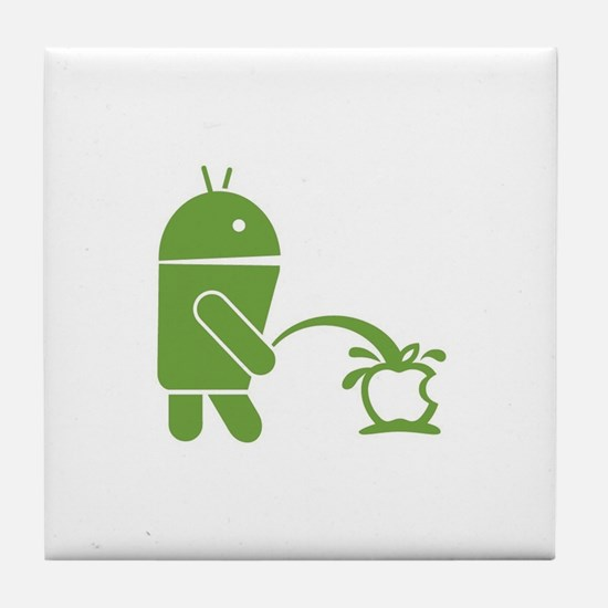 Android pissing on Apple. Tile Coaster