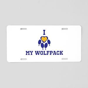 I heart my wolfpack Aluminum License Plate
