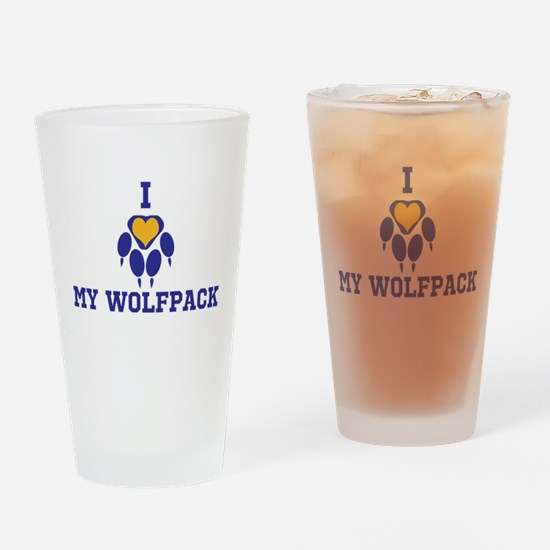 I heart my wolfpack Drinking Glass