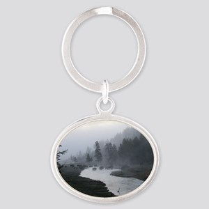 Bison crossing Oval Keychain