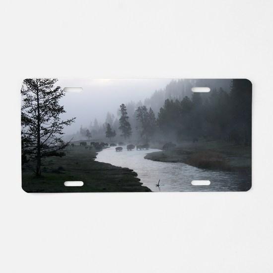 Bison crossing Aluminum License Plate