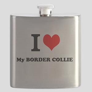 I Love My BORDER COLLIE Flask