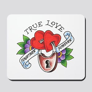True Love Hearts Locked Toget Mousepad