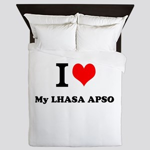 I Love My LHASA APSO Queen Duvet