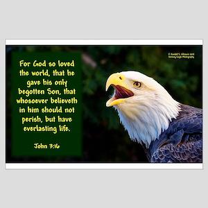 Talking Eagle (left) - John 3:16 Large Poster