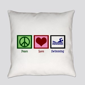 Peace Love Swimming Everyday Pillow