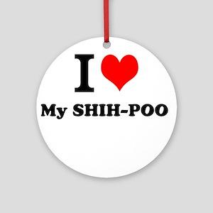 I Love My SHIH-POO Ornament (Round)