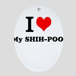 I Love My SHIH-POO Ornament (Oval)