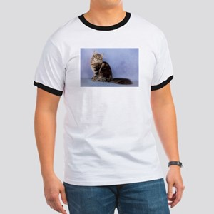 cute siberian tabby cat sideways T-Shirt