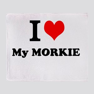 I Love My MORKIE Throw Blanket