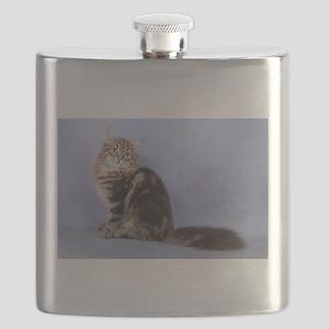 cute siberian tabby cat sideways Flask