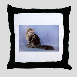 cute siberian tabby cat sideways Throw Pillow