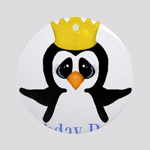 Birthday Prince Penguin Ornament (Round)