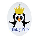 Birthday Prince Penguin Ornament (Oval)