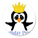 Birthday Prince Penguin Round Car Magnet