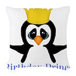 Birthday Prince Penguin Woven Throw Pillow