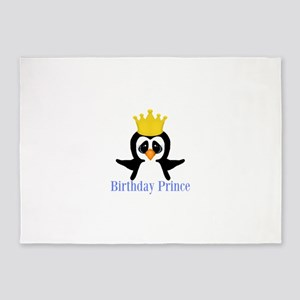 Birthday Prince Penguin 5'x7'Area Rug