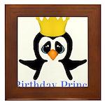 Birthday Prince Penguin Framed Tile