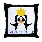 Birthday Prince Penguin Throw Pillow