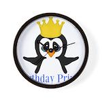 Birthday Prince Penguin Wall Clock