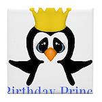 Birthday Prince Penguin Tile Coaster