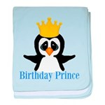 Birthday Prince Penguin baby blanket