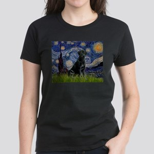 Starry Night Black Lab Women's Dark T-Shirt
