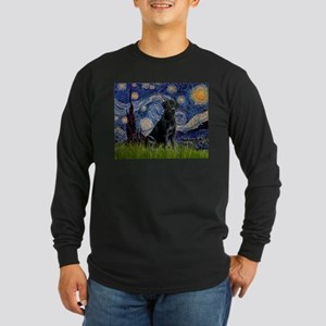 Starry Night Black Lab Long Sleeve Dark T-Shirt