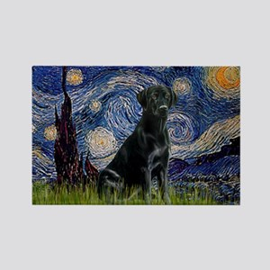 Starry Night Black Lab Rectangle Magnet