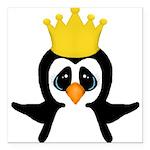 Penguin King Square Car Magnet 3