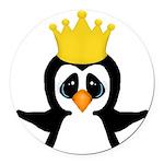 Penguin King Round Car Magnet