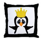 Penguin King Throw Pillow