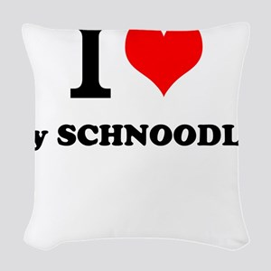 I Love My SCHNOODLE Woven Throw Pillow