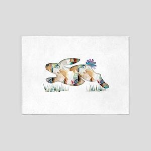 Mosaic Polygon Running Rabbit Paste 5'x7'Area Rug